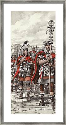 Roman Legions Marching Behind Their Standard Framed Print by Pat Nicolle
