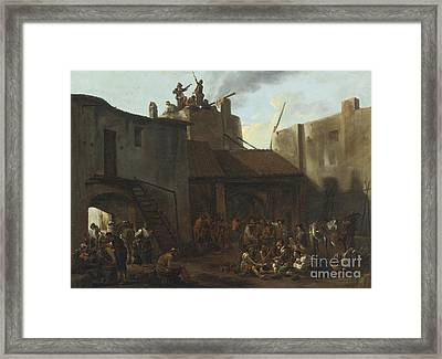 Roman Lime Kiln With Peasants Gambling Framed Print by Celestial Images