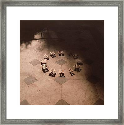 Roman Numerals On Floor Framed Print by Elspeth Ross