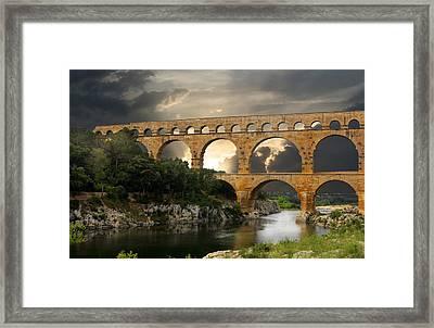 Roman Pont Du Gard Framed Print by Melvin Kearney