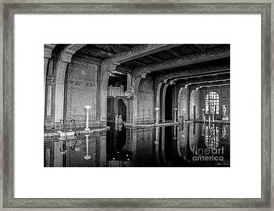 Roman Pool, Black And White Framed Print