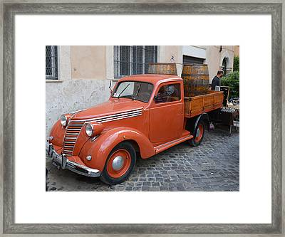 Roman Street Parking And Shopping Framed Print