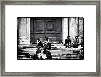 Roman Study Break Framed Print by John Rizzuto