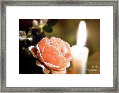 Framed Print featuring the digital art Romance In A Peach Rose by Linda Phelps
