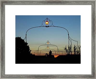 Romance On The Old Lantern Bridge Framed Print