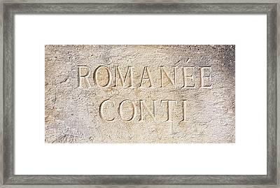 Romanee Conti Framed Print by Nadia Seme
