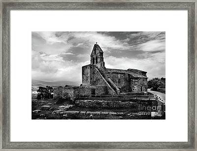Romanesque Church Of Santa Maria De Retortillo Bw Framed Print