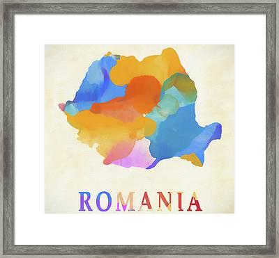 Romania Watercolor Map Framed Print