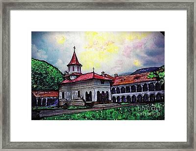 Romanian Monastery Framed Print by Sarah Loft