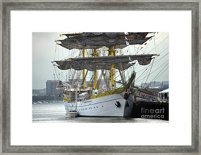 Romanian Tall Ship Framed Print by Jim Beckwith