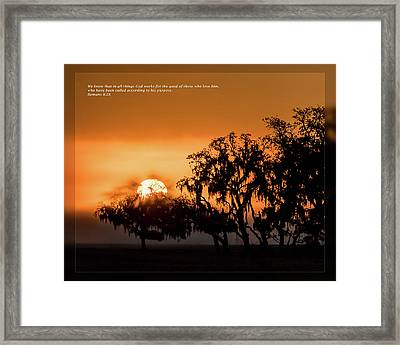 Framed Print featuring the photograph Romans 8 28 by Dawn Currie