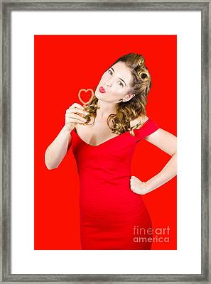 Romantic Blond Pin-up Lady Blowing Party Bubbles Framed Print