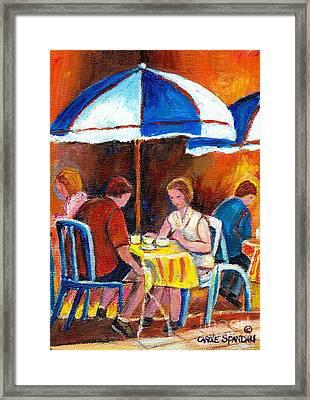 Romantic Brunch Rue St Denis Paris Style Cafe Paintings Original Quebec Art Carole Spandau    Framed Print by Carole Spandau