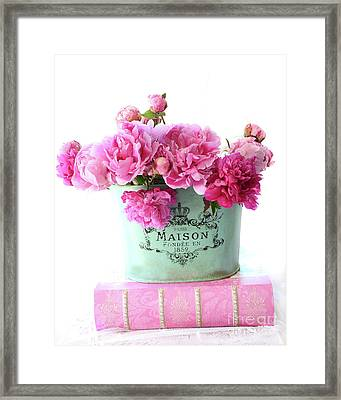 Romantic Red And Pink Peonies Maison Flowers On Pink Book - French Aqua Pink Peonies Books Decor Framed Print by Kathy Fornal