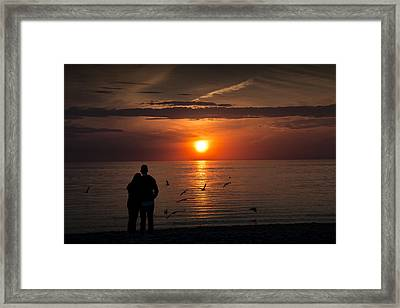 Romantic Couple Watching The Days Last Light Framed Print by Randall Nyhof