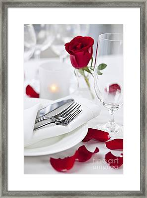 Romantic Dinner Setting With Rose Petals Framed Print