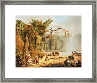Romantic Garden Scene Framed Print by Hubert Robert