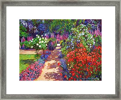 Romantic Garden Walk Framed Print by David Lloyd Glover