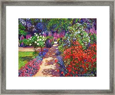 Romantic Garden Walk Framed Print by David Lloyd Glover