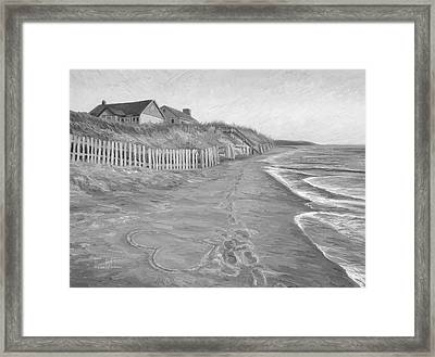 romantic getaway black and white framed print by lucie bilodeau