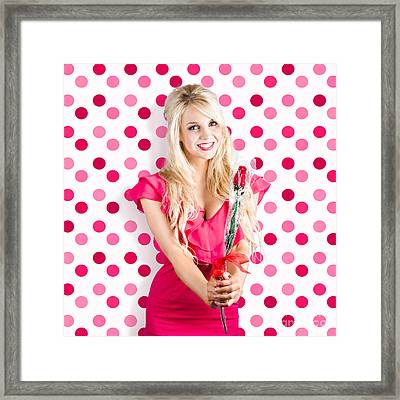 Romantic Girlfriend Receiving Rose From Valentine Framed Print by Jorgo Photography - Wall Art Gallery