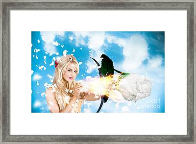 Romantic Goddess Of Love Shooting Magic Rose Framed Print by Jorgo Photography - Wall Art Gallery