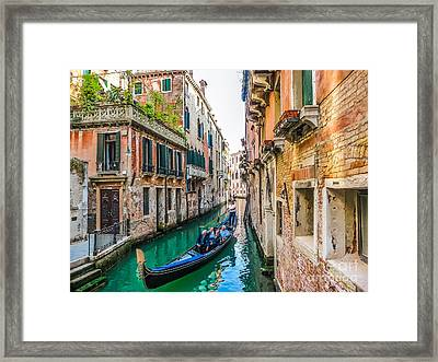 Romantic Gondola Scene On Canal In Venice Framed Print