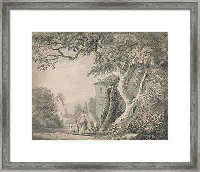 Romantic Landscape With Figures And A Dog Framed Print by Paul Sandby