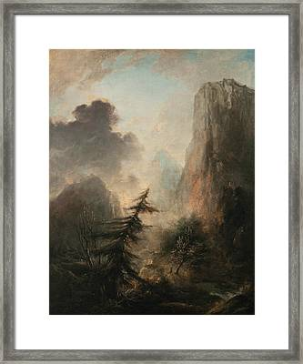 Romantic Landscape With Spruce Framed Print
