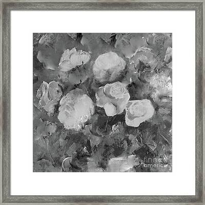 Framed Print featuring the painting Romantic Large Roses  by Robin Maria Pedrero
