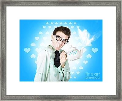 Romantic Male Dork Offering Coffee Love To Date Framed Print by Jorgo Photography - Wall Art Gallery