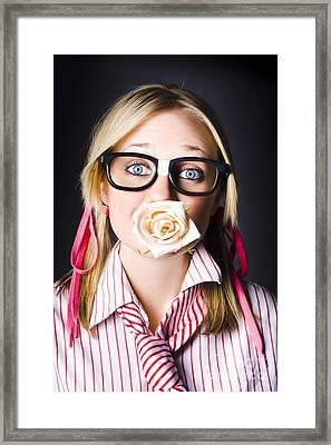 Romantic Nerd Flower Girl With Expression Of Love Framed Print