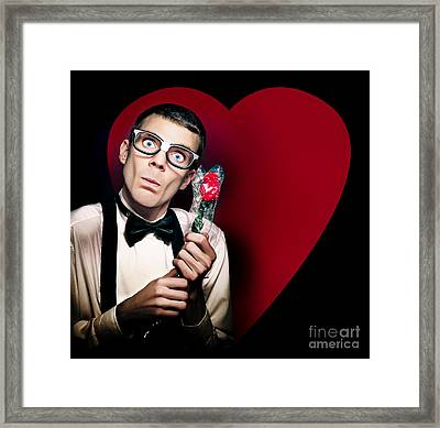 Romantic Nerd Holding Rose On Love Heart Background Framed Print by Jorgo Photography - Wall Art Gallery