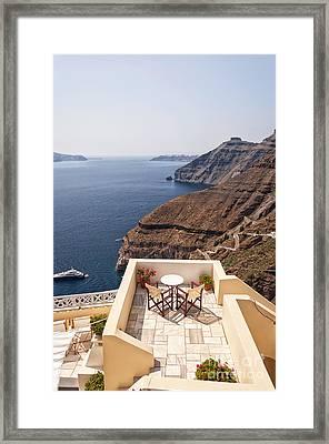 Romantic Patio Santorini Framed Print