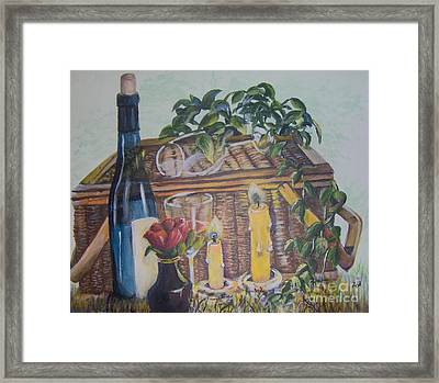 Framed Print featuring the painting Romantic Picnic by Saundra Johnson
