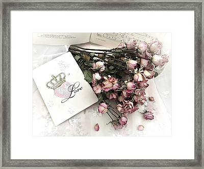 Framed Print featuring the photograph Romantic Pink Roses With Love Book - Shabby Chic Romantic Roses Love Books Decor Still Life  by Kathy Fornal