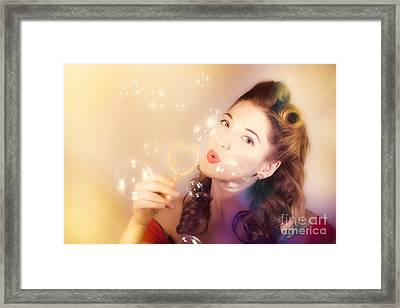 Romantic Pinup Girl. Retro Summer Party Framed Print by Jorgo Photography - Wall Art Gallery