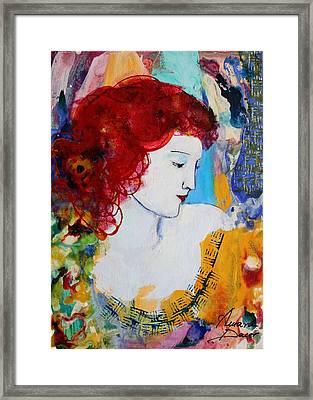 Romantic Read Heaired Woman Framed Print