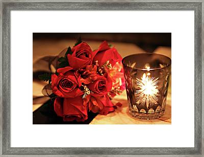 Romantic Red Roses In Candle Light Framed Print by Linda Phelps