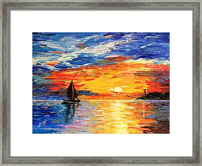 Framed Print featuring the painting Romantic Sea Sunset by Georgeta  Blanaru