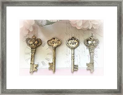 Romantic Shabby Chic Vintage Keys - Gold And Silver Skeleton Keys Love Joy Print Framed Print by Kathy Fornal