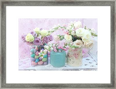 Romantic Shabby Chic Pastel Pink Aqua White Roses - Shabby Chic Spring Romantic Floral Art Framed Print by Kathy Fornal