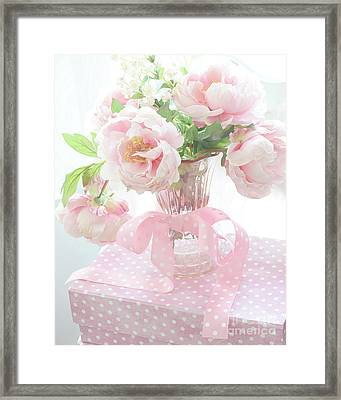 Romantic Shabby Chic Pink Pastel Peonies - Shabby Chic Peony Floral Decor Framed Print by Kathy Fornal