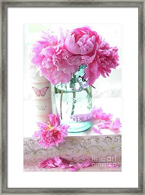 Romantic Shabby Chic Pink Peonies Aqua Mason Jars Floral Decor - Pink Peonies In Ball Jar Framed Print by Kathy Fornal