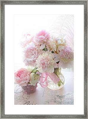 Romantic Shabby Chic Pink White Peonies - Shabby Chic Peonies Pastel Decor Framed Print by Kathy Fornal