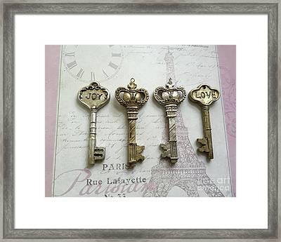 Romantic Skeleton Keys - Love Joy Keys Print  - Silver And Gold Love Joy French Key Decor Framed Print