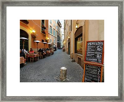 Romantic Streetside Cafe Framed Print