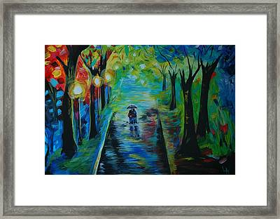 Framed Print featuring the painting Romantic Stroll by Leslie Allen