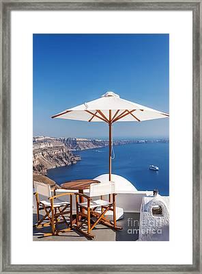 Romantic Sunspot Santorini Framed Print