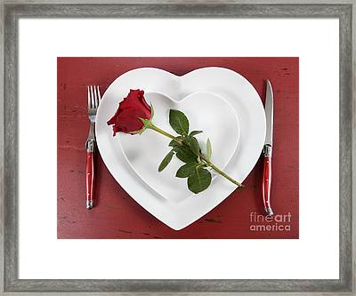 Romantic Table Place Setting On Red Vintage Wood Framed Print by Milleflore Images